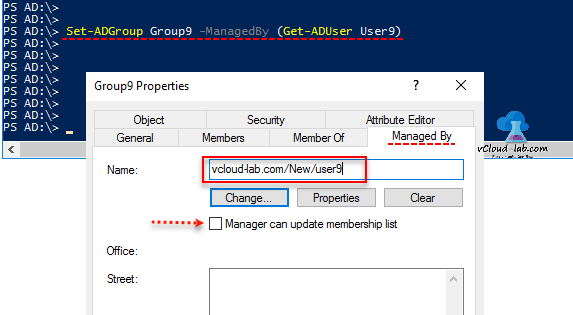 Active Directory Powershell Set-AdGroup Managedby Get-aduser, Manager can update membership list managed by group properties