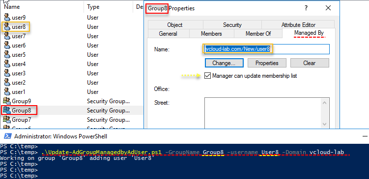 Active directory users and comptuers powershell, Group properties managed by Name change update, manager can update membership list