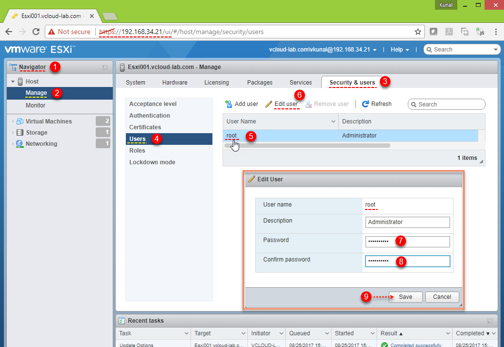 vmware vsphere esxi forgot root passsword change root password edit user root, security, reset password manage.png