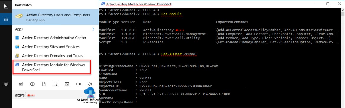 Install Active Directory Module for Windows Powershell, Get-Module, Get-ADUser, Install any module