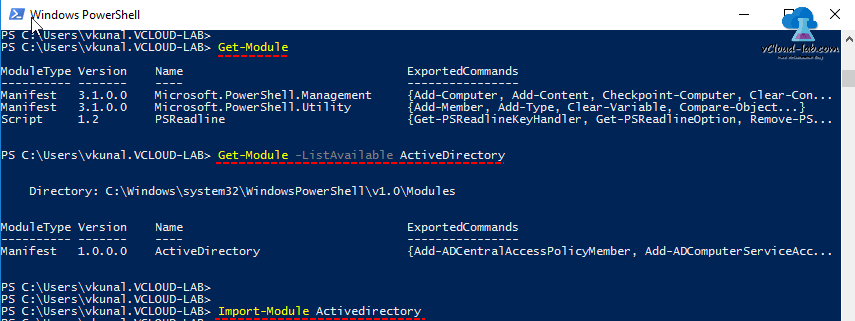 Microsoft windows powershell, Get-module -listavailable any module, Import-Module activedirectory