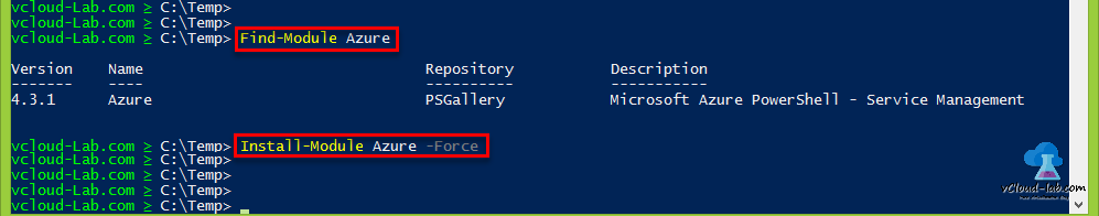 Microsoft Windows Powershell, Find-Module azure, Install-Module azure -force, Internet repository psgallary service management