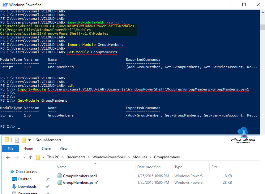 Microsoft Windows Powershell, module $env PSModulePath -split, Import-Module, Get-Module, GroupMembers, Default module paths