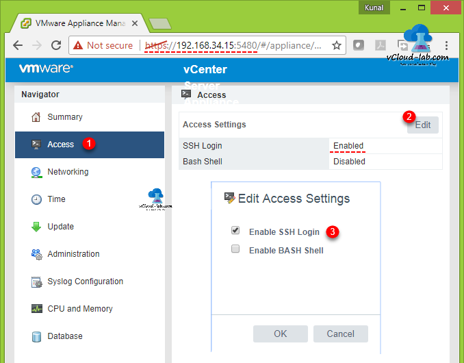 VMWare vcenter appliance vcsa management portal 5480 edit access settings, ssh login enabled bash shell