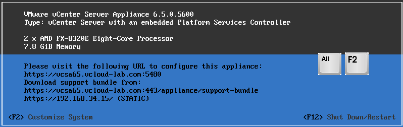 vmware vcenter server appliance  with embedded platform service controller vcsa DCUI direct control user interface alt f2 enable ssh