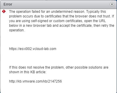 vmware vsphere the operation filed for an undetermined reason. certificates, datastore file copy upload error