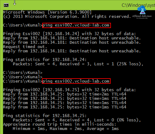 vmware vsphere vcenter esxi web client uploading files to browse datastore failed, Ping results, resolved issues