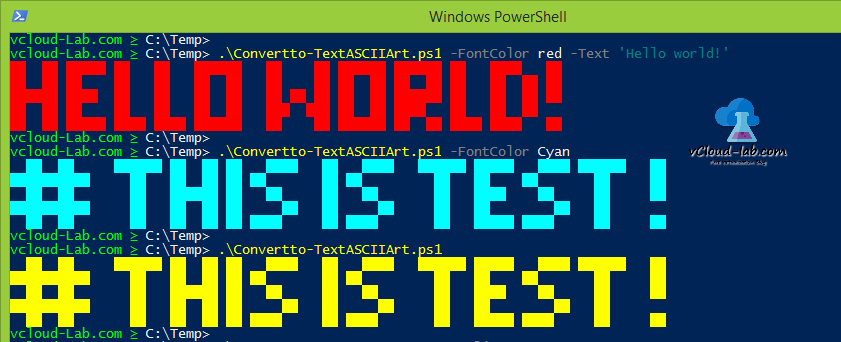 Powershell trick convertto-textasciiart, convert text to acsii art algorithm Font color console