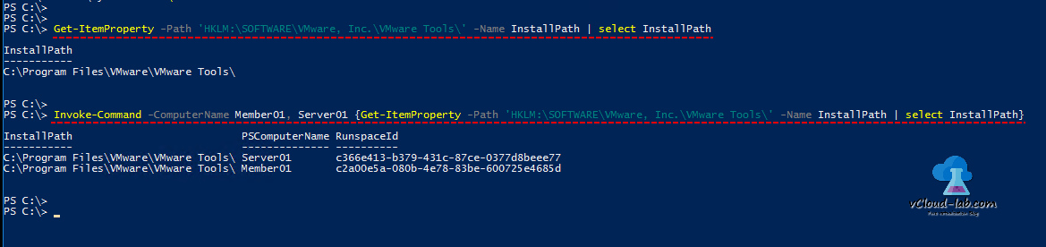 Powershell Registry remotely Invoke-command Get-ItemProperty -path select-object