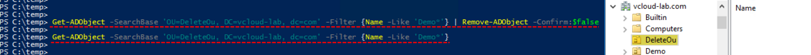 Get-AdObject -SearchBase -Filter, Remove-Object delete user account powershell active Driectory recycle bin feature