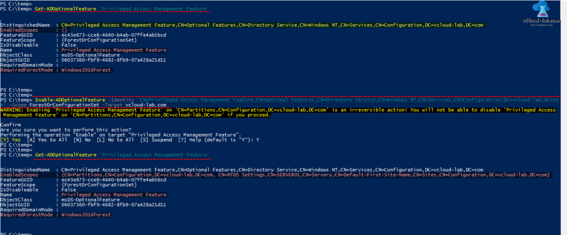 Powershell Active directory ad domain controller Get-AdoptionalFeature, Enable-AdoptionalFeature, Privileged access management feature, target, enabled scopes, object guid class
