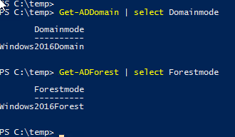Active Directory powershell domain controller Get-AdDomain, Get-Forest forestmode and DomainMode functional level