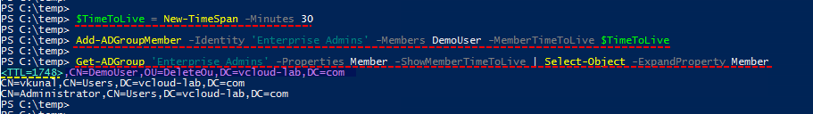 Microsoft Powershell Active directory domain Controller, Time to live, pam priviledged access management features add-adgroupmember, get-adgroup, new-timespan.png