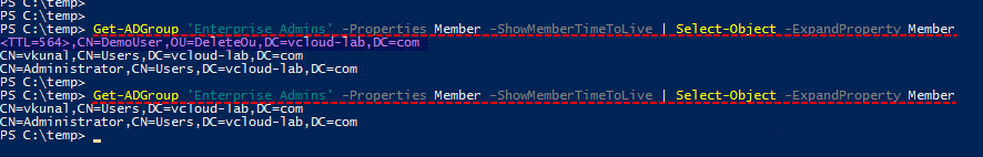 Powershell active directory dc, Get-Adgroup showmembertimetolive pam priviledged access management, temporary group access time based, select object ttl on group
