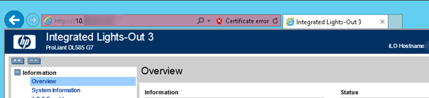 Resolved HP ILO page cannot be displayed issue ssl v 2certificate error issue port ok tls 1