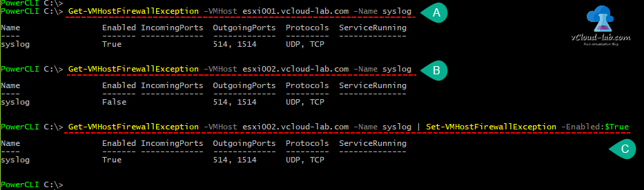 vmware vsphere vcenter esxi web client, powercli set-vmhostsyslogserver syslogserver host udp tcp ssl port 514, Get-VMhostFirewallException syslog, enabled, port 1514 set-vmhostfirewallexception, .png