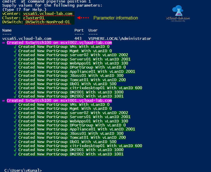 vmware vsphere vcenter esx powercli, cluster, dvswitch distributed standard virtual switch, New-VirtualSwitch, New-VirtualPortGroup, Get-vdswitch script error handling