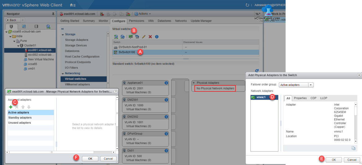 vmware vsphere web client standard switch to distributed virtual switch movement, standard virtual switch active standby unused adpaters, migration portGroup