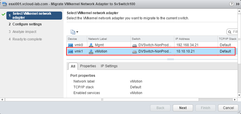 dvSwitch, migrate vmkernel network adapters to standard switch select vmkernel network adapter vmk1 vmtion, vmware vsphere web client, vcenter esxi, tcp ip stack, ip settings, port properties