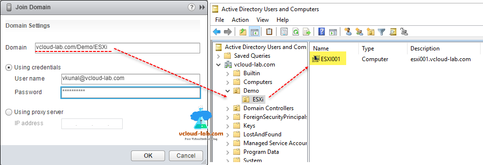 esxi join domain, domain settings, organization unit, ou using credentials.vmware vsphere, vcenter, proxy server, active directory users and computers, esxi computer account type