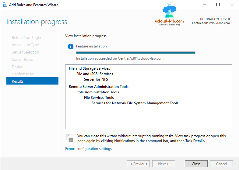 Microsoft, server manager, Add Roles and feature Wizard, file and storage services file and iscsi services, Server for NFS, File Services Tools, vCenter esxi nfs datastore mount, RSAT, Network file system linux on windows