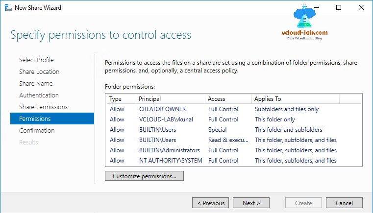 Microsoft Windows NFS share, server new share wizard, for vmware esxi vcenter, Kerberos v5 authentication, Permissions and control access, read-write nfs, auth_sys, add permissions host, NTFS permissio, add host.png