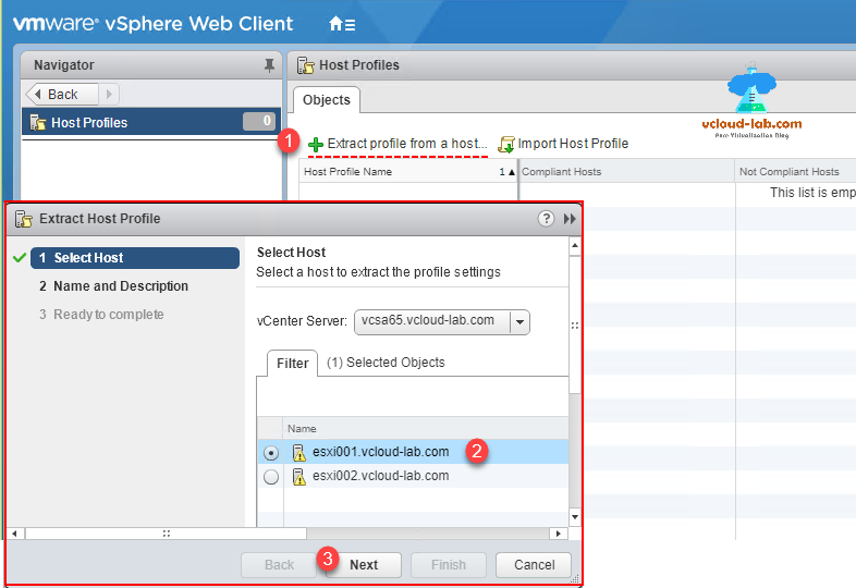 vmware vsphere esxi client, vcenter server, host profiles, select host, extract profile from a host, reset esxi root password from vcenter, web client, configure forgotten esxi password