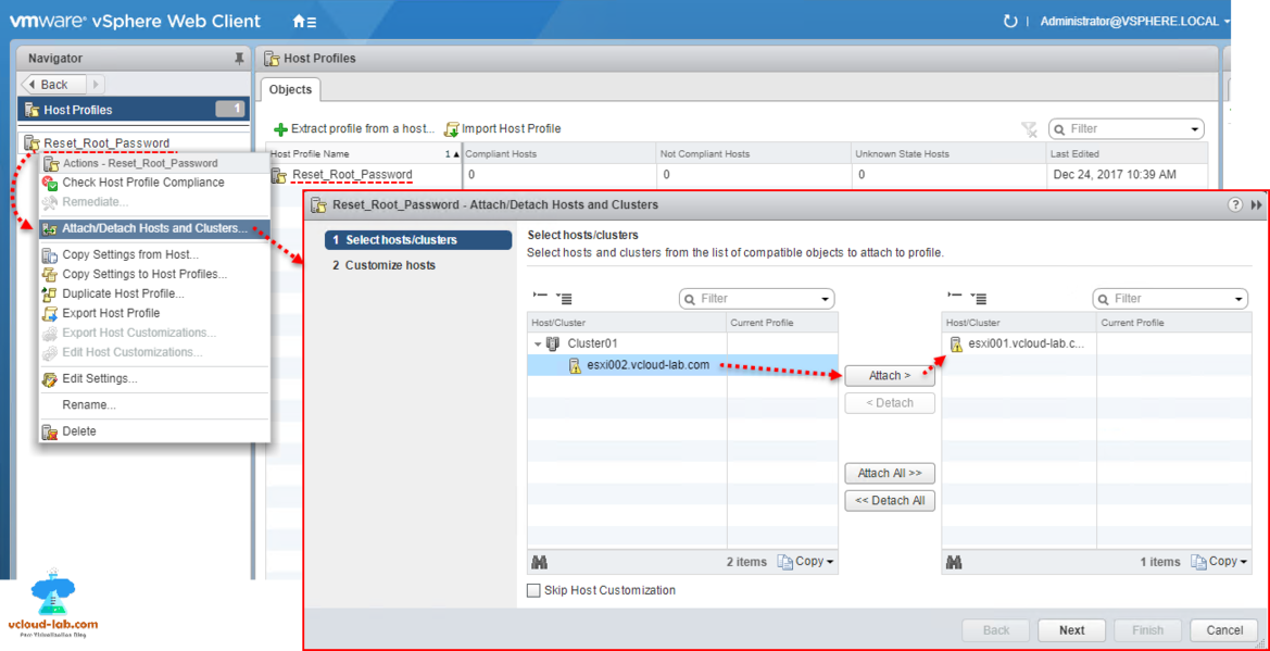 Vmware vsphere web client, reset esxi root password using vcenter, host profiles, Attach detach hosts and clusters, select esxi host, customize host