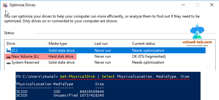 Microsoft windows server 2016 defrag optimize drives, hard disk drive and solid drive, powershell get-physicaldisk change set hdd as ssd flash