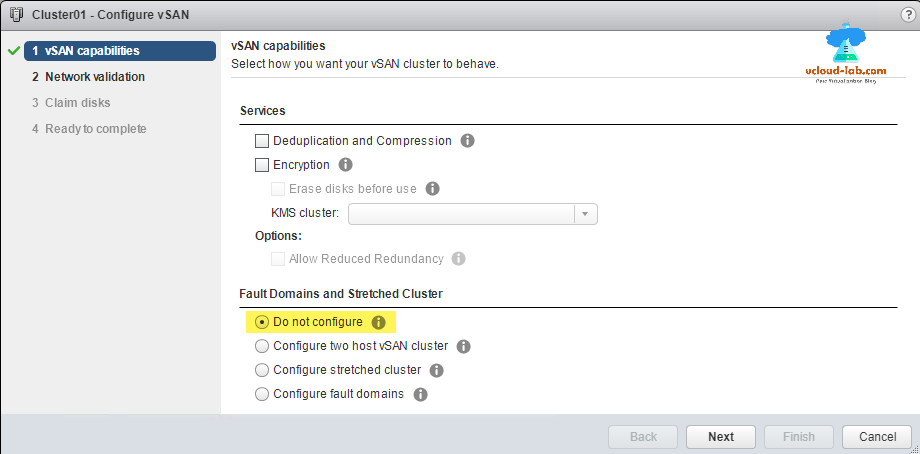 vmware vsphere web client, cluster, configure vSAN, fault domains, stretched cluster, datastore, storage encyption Deduplication and compression, vSan Capabilities