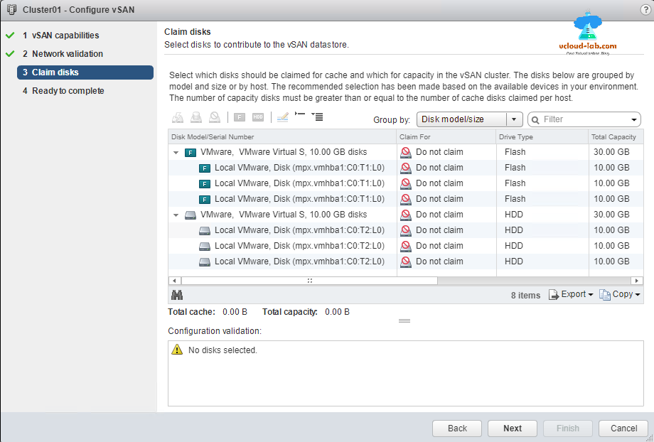 vmware vsphere web client, configure vsan, claim disks, vsan datastores, flash ssd disk, solid state drive, hard disk drive, capactity tier, cache tier, HDD.png