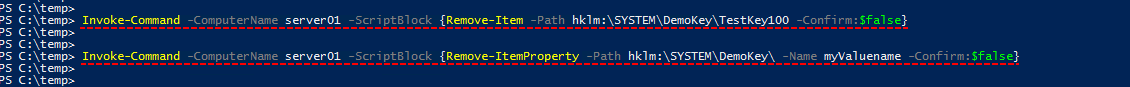 Microsoft windows powershell, enable-psremoting, invoke-command, remove-item, remove-itemproperty, delete registry key and value remotely