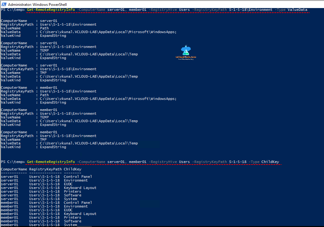 microsoft windows powershell, remote registry info, childkey, and valuename and value kind.png