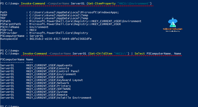 microsoft windows powershell, invoke-command get-childitem, get-itemproperty, get-item, remote registry information, hkcu, hlm, localmachine examples
