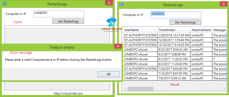 Windows form restartlogs, get-restartlogs powershell gui form winform vs wpf