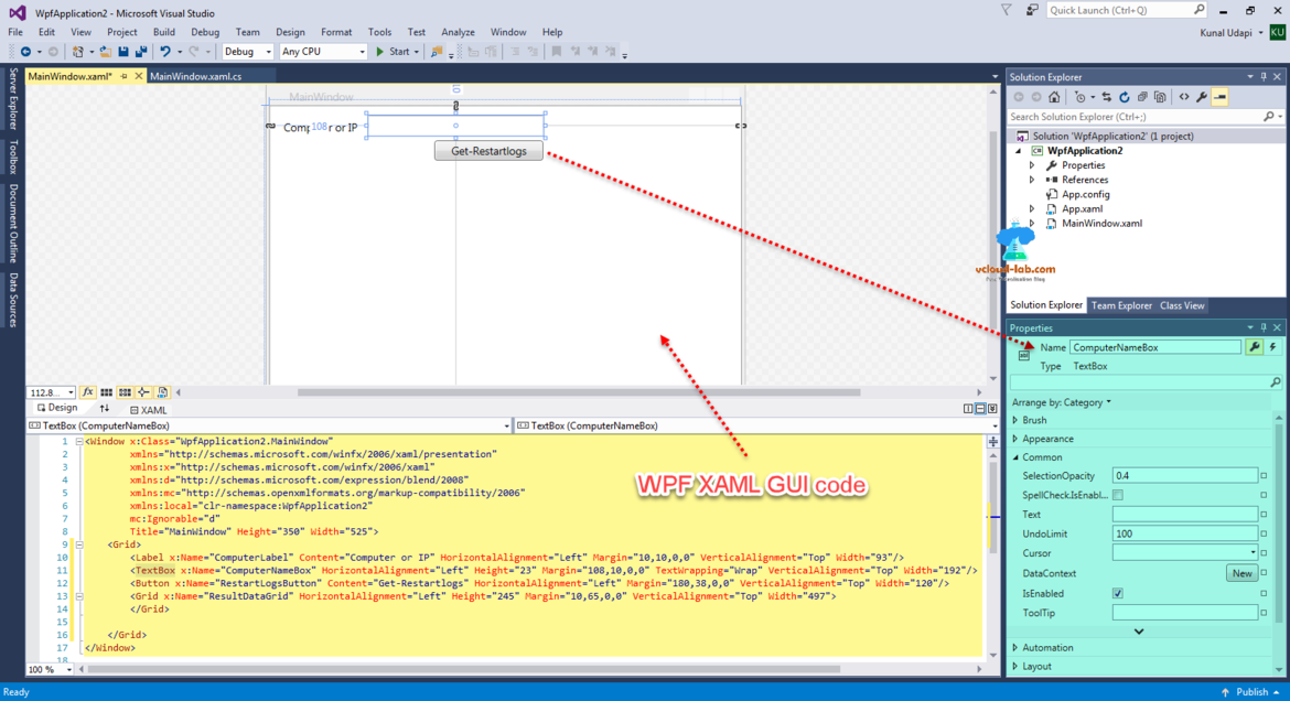 WIndows powershell, wpf xaml gui code build on visual studio community edition get event logs, button, gridview code and controls toolbox textbox
