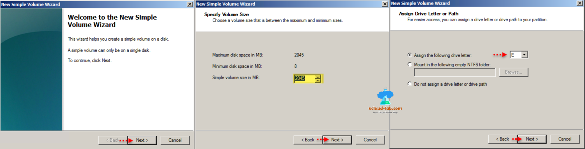 vmware vsphere web client, esxi server, new hard disk rdm disk, raw device mapping, windows server new simple volume wizard, voluem partition disk size, assign drive letter, NTFS folder mapping