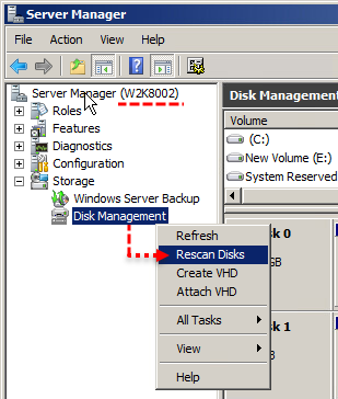 vmware vsphere web client, windows server disk management make disk online, virtual disk vmdk, server manager, manage disks, rescan disk storage, hdd, hard disk, vmdk, rdm raw device mapping