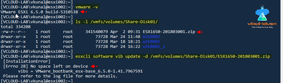 vmware vsphere esxi, esxcli software vib update offline bundle, ssh esxi upgrade esxi code vmware version command line