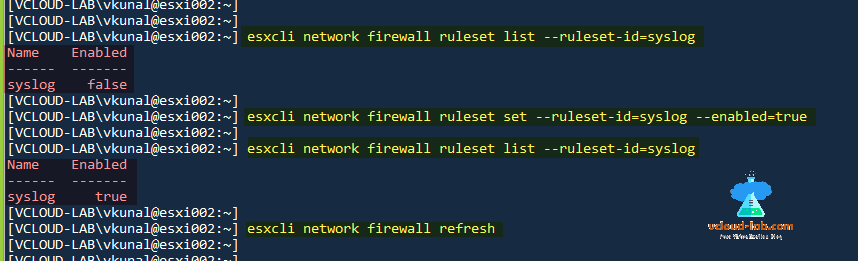 vmware vsphere esxi, esxcli network firewall rulese list, set, firewall refresh, putty ssh esxi, enable firewall ruleset list