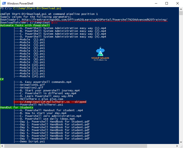Microsoft powershell windows start-dirdownload, automate download with powershell, free download training material, ps1 files invoke-webrequest download