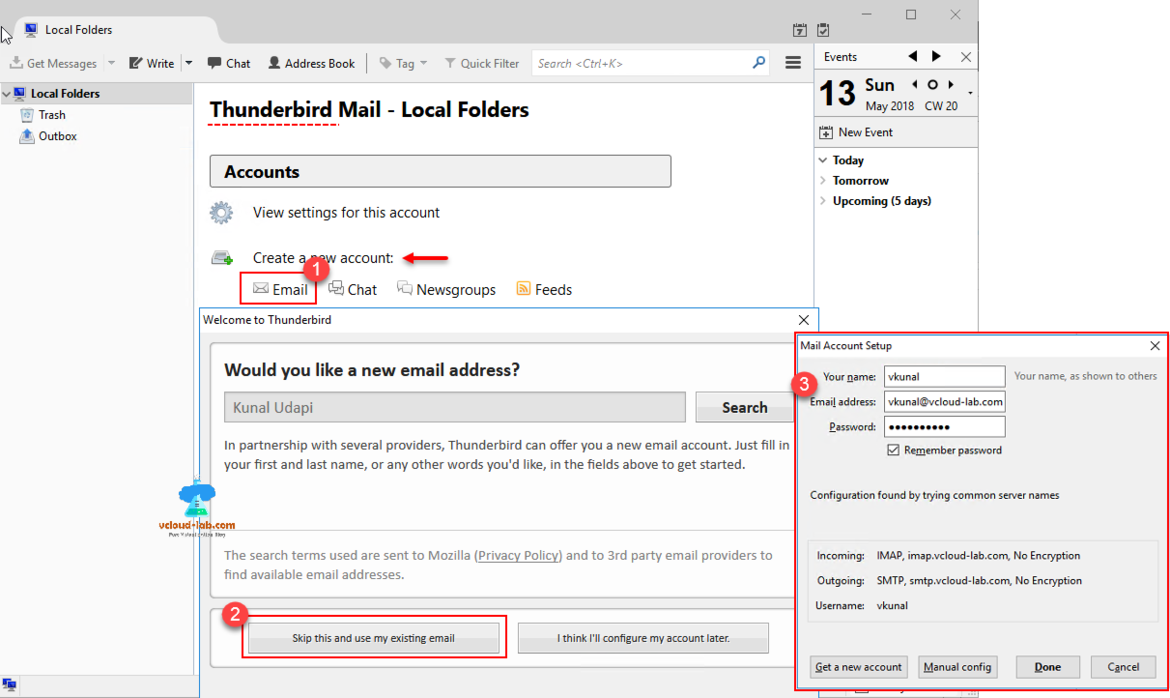 thunderbird mail use existing emails from exchange email mail server, opensource free utility tool, configure thunderbird email, hmailserver