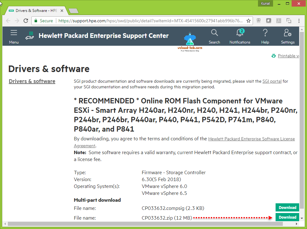 download hardware hewlett packard enterprise hpe driver and software esxi smart array firmware upgrade vmware vsphere ILO integraed lights out