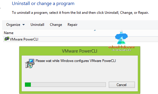 vmware vsphere esxi uninstall or change a program appwiz.cpl vmware powercli older version, upgrade powercli