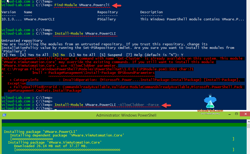 vmware vsphere esxi powercli Find-Module Vmware.Powercli  Install-Module  Vmware.PowerCLI allowclobber force.png