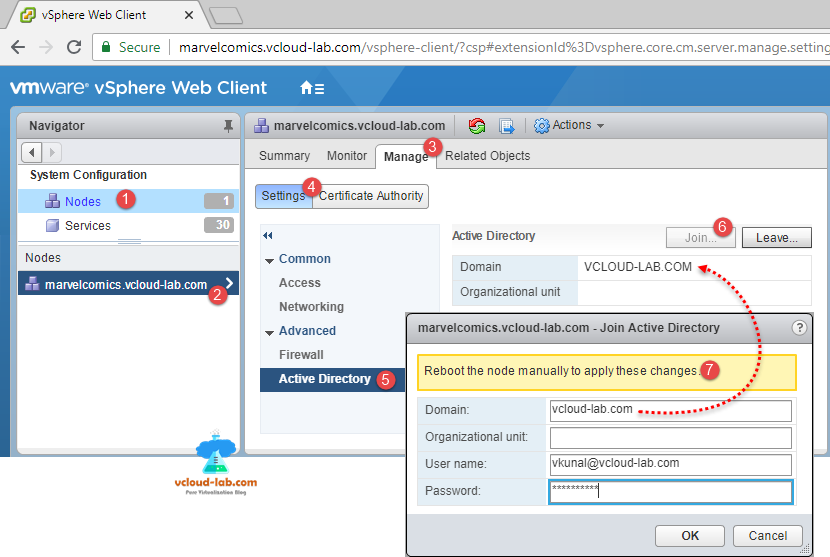 system configuration vmware vsphere web client, manage settings active directory join vCenter into active directory