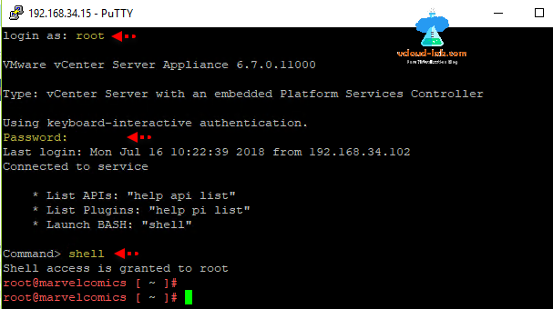 vcenter ssh putty login root vmware vCenter server appliance shell access is granted to root, launch BASH, shell, api list.png