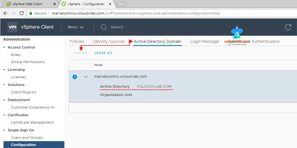 vmware vsphere client html, Administration, single sign on configuration, Active Directory Join Ad identity source Organization unit, authentication.png