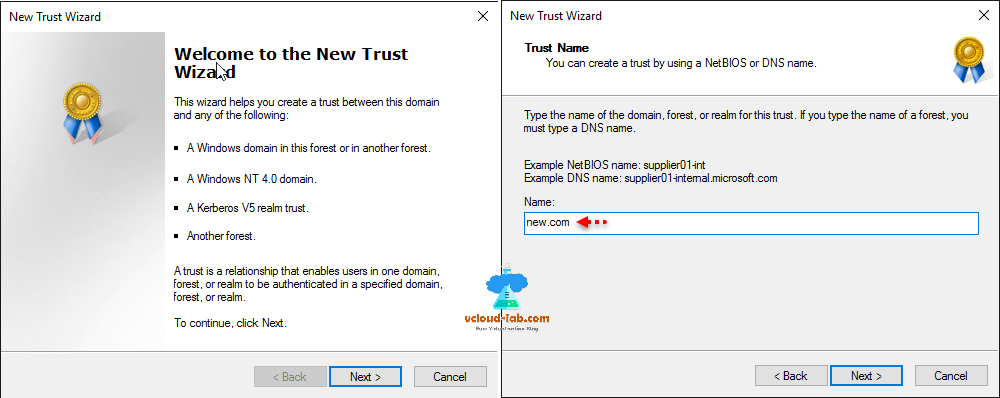 Active Directory new trust wizard, kerberos realm trust, another forest, trust Name netbios or dns name, cross domain admin rights