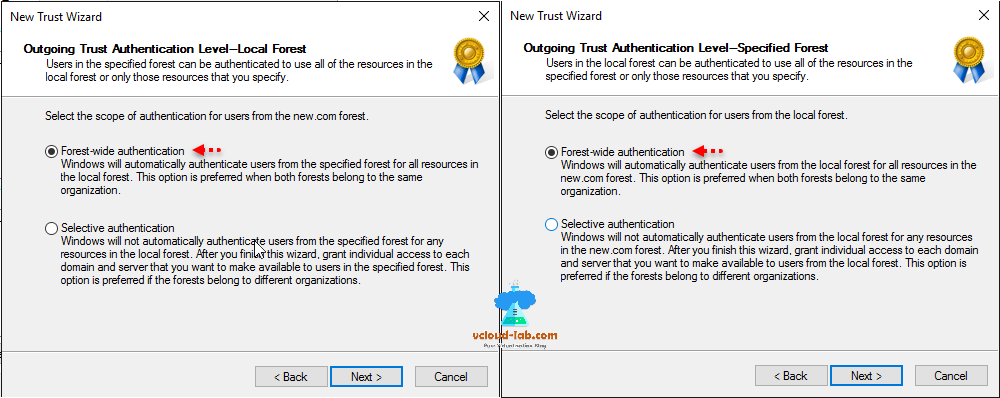 active directory domain and trusts new trust wizard outgoing trust, forest-wide authentircation, selective authentication, cross domain active directory domain admins